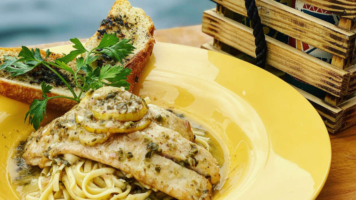 Fish Piccata Over Linguine